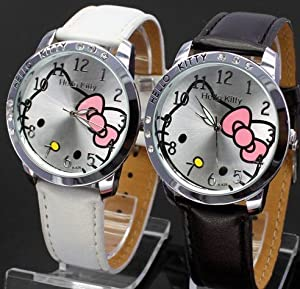 Hello Kitty Black & White Classic Watch with Free Pair of Red Heart Love Necklace.