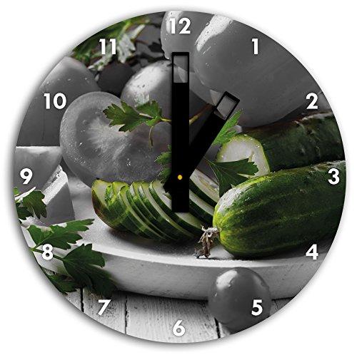 plaque de légumes avec des poivrons, tomates et courgettes noir blanc, diamètre 30cm / horloge murale avec du noir au carré les mains et le visage, objets décoratifs, Designuhr, aluminium composite très agréable pour salon, bureau