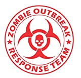 LARGE Zombie Outbreak Response Team with SKULL Vinyl Decal Sticker Wall Art Graphic (Red)