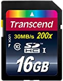 Transcend 16GB SDHC Class 10 Flash Memory Card Up to 30MB/s (TS16GSDHC10E)