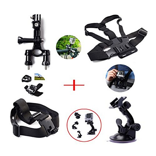 Masionetm Head Strap Mount+ Chest Belt/Strap Harness Mount + Gopro Suction Cup Mount Accessory + Motorcycle Bike Handlebar Seatpost Pole Mount For Gopro Hero4 Hero3+ 3 Plus Hero3 Hero2 1 Cameras Adjustable front-255190