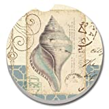 CounterArt Absorbent Stoneware Car Coaster, Shell Collage