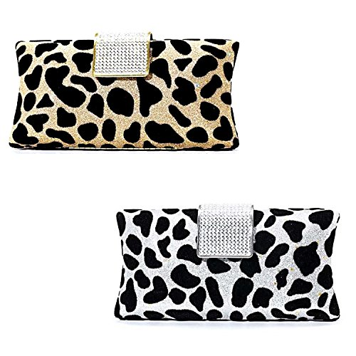 MZZ MET068 Animal Print Velvet Metallic Hard Case Clutch with Rhinestoned Closure Evening Purse Handag W removable chain