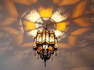 plafonnier lanterne lustre marocain h 55cm fer forg verre lampe aplique bougie maroc. Black Bedroom Furniture Sets. Home Design Ideas