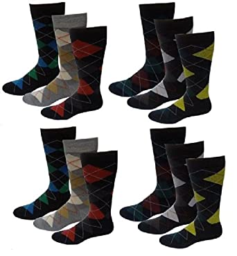 12 Pairs Mens Bright Colors Argyle Design Fancy Design Dress Socks 10-13 by Different Touch