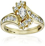IGI-Certified 14k Yellow Gold Marquis Diamond Bypass Bridal Ring Set (1 cttw, H-I Color, I1-I2 Clarity)