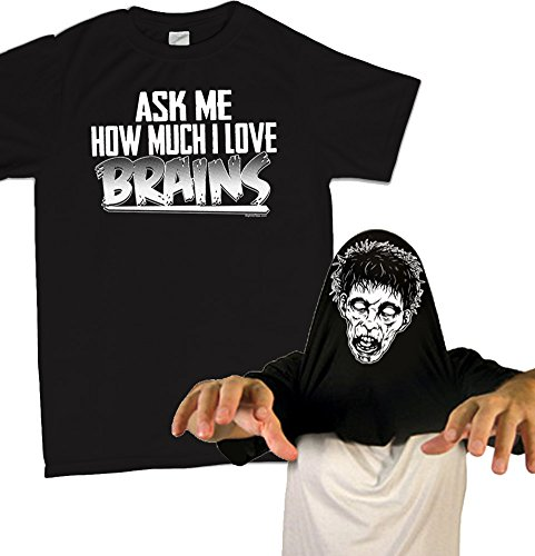 Ask Me How Much I Love Brains T-shirt Zombie Costume FlipUp Funny Tee
