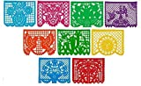CalMex Large PLASTIC Mexican Papel Picado Banner (15 Feet Long) Designs as Pictured