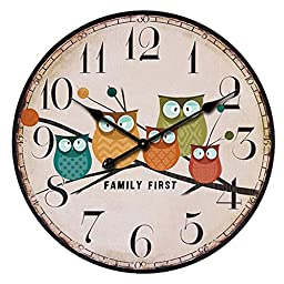 Funnytoday365 European Style Vintage Creative Forest Owl Round Wood Wall Clock Quartz Bracket Clock