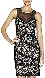 Nicole Miller Women's Amy Criss Cross Stretch Lace Dress, Black/Nude, Large