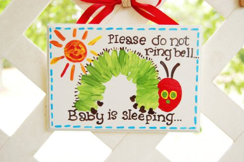 Please Do Not Ring Doorbell.... Baby Sleeping Sign (Caterpillar) - 1