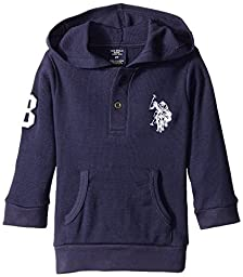 U.S. Polo Assn. Little Boys\' Thermal Placket Hoodie, Classic Navy, 4