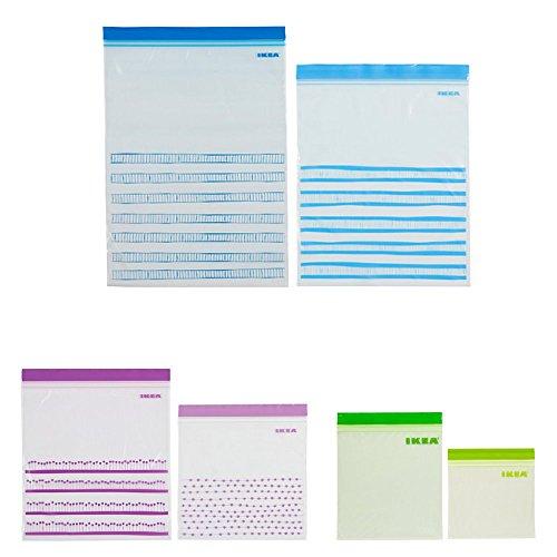 IKEA(イケア) 【セット品】 ISTAD プラスチック袋 6サイズ 3箱セット (ブルー30p パープル50p グリーン60p) 【チャック ジッパー付】