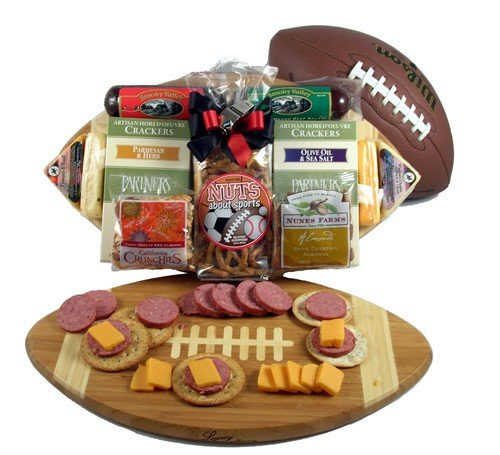 Gift Basket Village Halftime Favorites Football Cutting Board with Cheese and Sausage Gift Basket, Medium