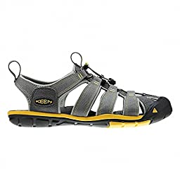 KEEN Men\'s Clearwater CNX Sandal,Gargoyle/Super Lemon,9.5 M US