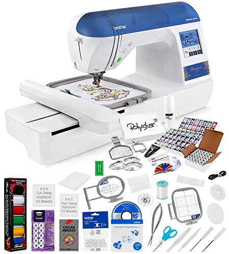 Lowest Prices! Brother Designio DZ820E Embroidery Machine + Grand Slam Package Includes 64 Embroidery Threads + Prewound Bobbins + Cap Hoop + Sock Hoop + Stabilizer + 15,000 Designs + Scissors ($1,170 Value)