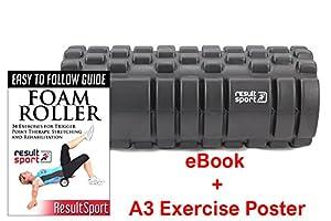 ResultSport® Velocity Grid Foam Roller 34x15cm - Black - Trigger Point Massage