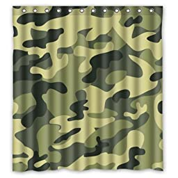 Amouflage Army Fans Simple Pattern Texture- Personalize Custom Bathroom Shower Curtain Waterproof Polyester Fabric 66(w)x72(h) Rings Included