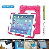 ACEGUARDER Apple Ipad Air Ipad 5 Case Waterproof Rainproof Shockproof Kids Proof Case for Ipad 5 (Gifts Outdoor Carabiner + Whistle + Handwritten Touch Pen) (Aceguarder Brand) (WHITE/PINK)