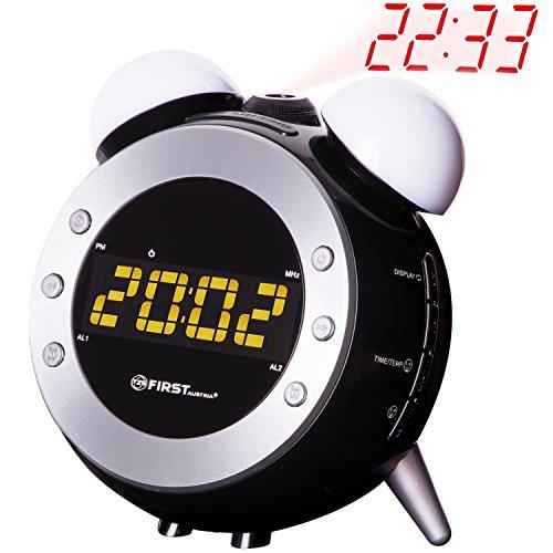 Radio-réveil à projecteur et lumière de reveil dimmable| Affichage de la température | Lumière | Écran 7x2,5cm LED dimmable en 3 niveaux ou éteint | 10 stations mémorisables |