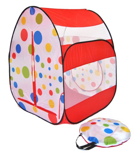 Cute Red Polka Dot Twist Play Ball Tent House W/ Safety Meshing For Child Visibility & Tote