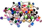 WHOLESALE LOT OF 100 14G MIXED TONGUE RINGS BARBELLS