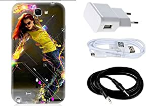 Spygen Samsung Galaxy Note 2 (N7100) Case Combo of Premium Quality Designer Printed 3D Lightweight Slim Matte Finish Hard Case Back Cover + Charger Adapter + High Speed Data Cable + Premium Quality Aux