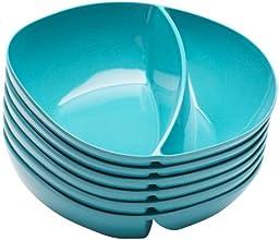 """Zak! Designs Moso Divided Bowl, 100% Natural Materials and BPA-free, 7.5"""", Azure, Set of 6"""
