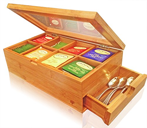 Cheapest Price! Best Bamboo Tea Box Natural Chest with Clear Hinged Lid, 8 Storage Sections with Exp...