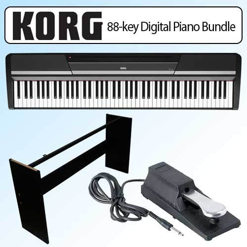 Korg Sp170Bk 88-Key Digital Slab Piano Bundle With Furniture-Style Wooden Stand And Pedal - Black