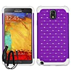 SAMSUNG GALAXY NOTE 3 PURPLE WHITE DIAMOND BLING HYBRID COVER HARD GEL CASE + FREE CAR CHARGER from [ACCESSORY ARENA]