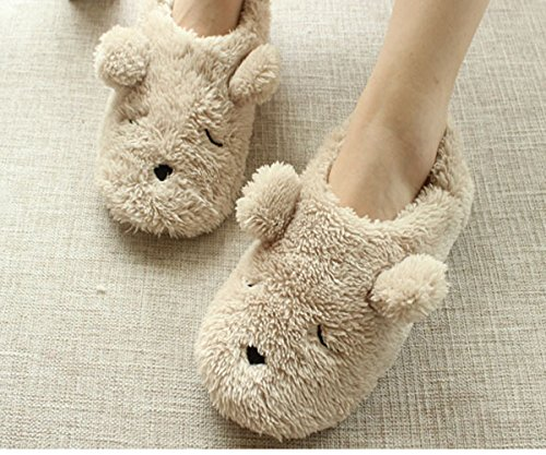 Womens Indoor Warm Fleece Slippers, Ladies Girls Lovely Cartoon Bear Winter Soft Cozy Thermal Non-slip Fuzzy Plush Mules Home Indoor Floor Slip-on Shoes Ankle Boots (Bear Slippers compare prices)