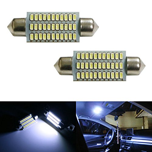 "Ijdmtoy (2) Super Bright Xenon White 33-Smd-3014 1.72"" 42Mm 211-2 212-2 214-2 578 579 Festoon Led Bulbs For Car Interior Map Dome Lights"