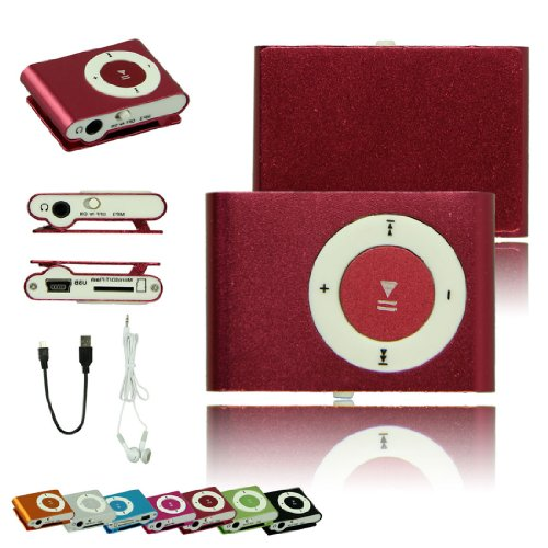 Voberry Mini Clip Mp3 Player With Tf Micro Sd Card Slot + Usb Cable + Earphone New(Red)
