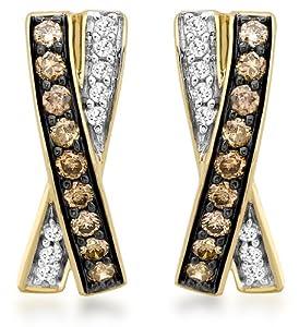 Boucles d'oreille - Femme - Or jaune (9 cts) 1.5 Gr - Diamant