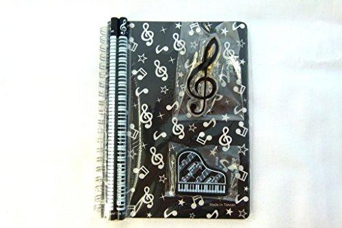 Musica a tema set di cancelleria taccuino - nero note musicali Spiral taccuino Bound, Piano gomma, Chiave di violino Clip e 2 note musicali Pencils