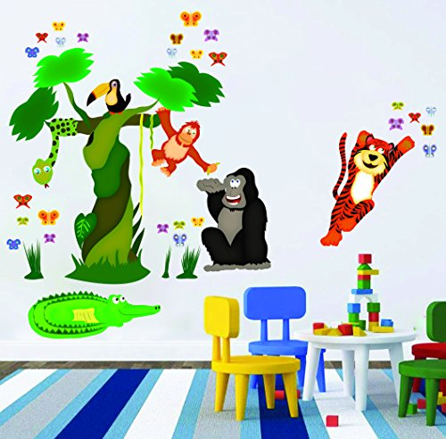 Wall Decals - Nursery Wall Stickers / Decorations for Baby Girls, Boys - Create Rooms Art Decor for Kids - Removable Vinyl Peel and Stick - Jungle Tree, Butterflies and Animals (Woody Wall Decal compare prices)