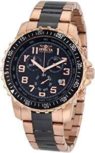 Invicta Men's 1327 Chronograph Black Dial Two-Tone Stainless-Steel Watch