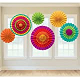 PrettyurParty Fiesta Fan Decorations - Pack of 6