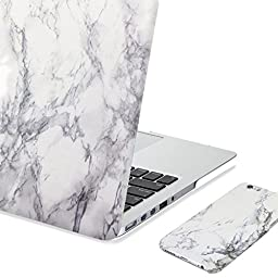 GMYLE 2 in 1 Bundle White Marble Pattern Frosted Case for MacBook Pro 13 Retina & iPhone 6 (4.7 inches display)