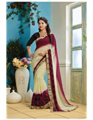 AG Lifestyle Beige & Maganta Faux Georgette Saree With Unstitched Blouse AKS2007