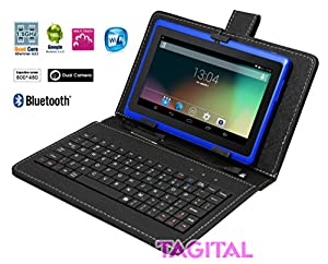 "Tagital® T7X 7"" Quad Core Android 4.4 KitKat Tablet PC, Bluetooth, Dual Camera, Play Store Pre-installed, 2015 est Model Bundled with Keyboard Blue"