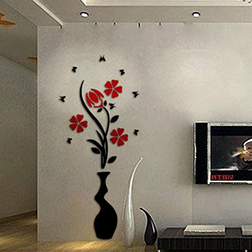 Ussore DIY Vase Flower Tree Crystal Arcylic 3D Wall Stickers Decal Home Decor for Home Decoration Living room Doors Laptops Cars Tiles (A)