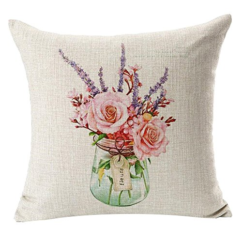 Monkeysell hand-painted Figure Colorful Cartoon Small and Pure and Fresh Flowers Grass Drawing or Pattern office waist support linen quare Decorative Fashion Throw Pillow Cover -18