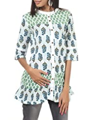 Rajrang Cotton Green, White Screen Printed Tunic Top Size: L - B00AXXZBCG