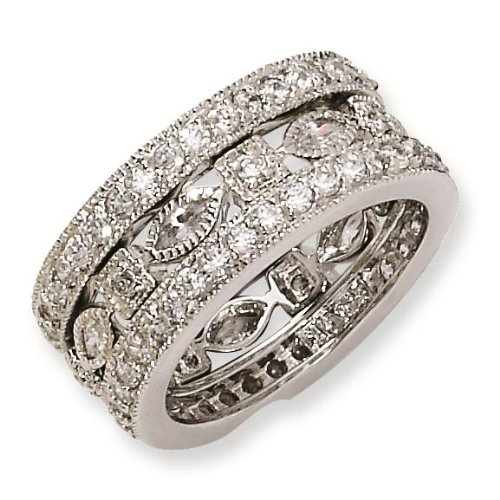 Sterling Silver CZ Eternity Three Ring Set - Size 7