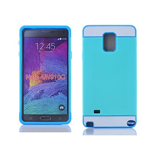 Galaxy Note 4 Card Case, Nancy'S Shop Samsung Galaxy Note 4 Case Credit Card[Dual Layer] Armor Defender Full Body Protection Cover Credit Card Case For Samsung Galaxy Note 4 / Galaxy Note Iv (Mint Green/Blue Nancy'S Shop Samsung Galaxy Note 4 Case)