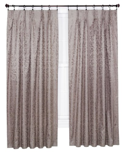 Ellis Curtain Dover Damask Woven Scroll Thermal Insulated Pinch Pleated Patio Panel 96 By 84