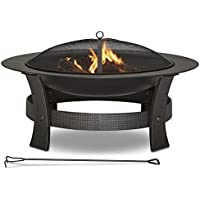 Garden Treasures 35-in W Temperature Painted Steel Wood-Burning Fire Pit