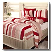 Courtney King Red And White Striped Quilt